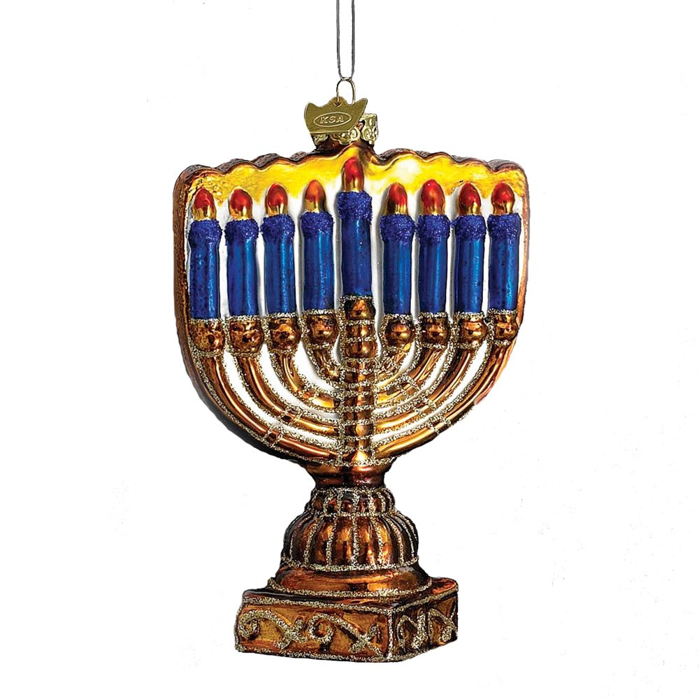 Amazon.com: Kurt Adler 4-1/2-Inch Noble Gems Glass Menorah Ornament ...