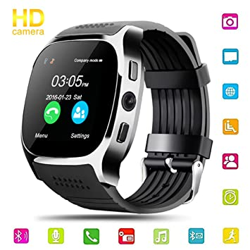Montre Connectée,Hizek Montre Sport Fitness Tracker Smartwatch Montre Téléphone Portable Supporte SIM Carte TF