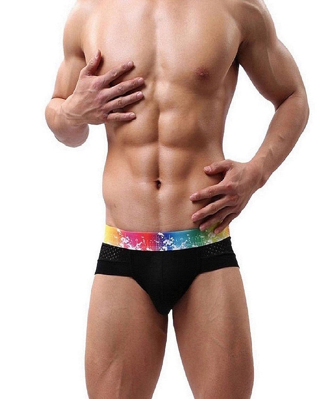 Kolylong Herren kurze Hose Boxer Streifen Baumwolle Boxer Briefs Unterhose -Unterwäsche 5 Farben