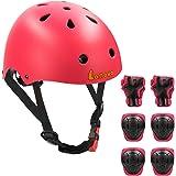 LANOVAGEAR Casco para niño pequeño, rodilleras, coderas y muñequeras ajustables, casco de bicicleta para niños CPSC para…