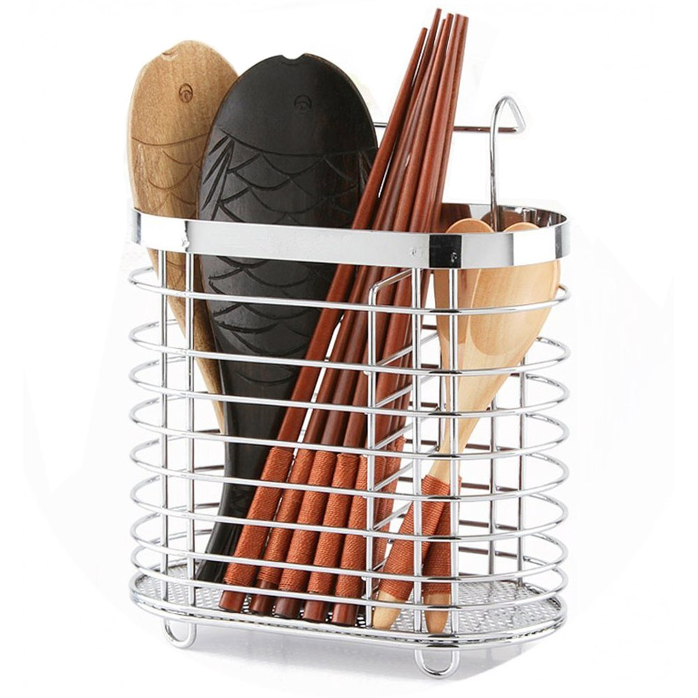 445968dde Swallowzy Utensil Drying Rack-Stainless Steel Hanging 2 Compartments Mesh  Utensil Drying Rack  Chopsticks Spoon Fork Knife Drainer Basket Cutlery  Flatware ...