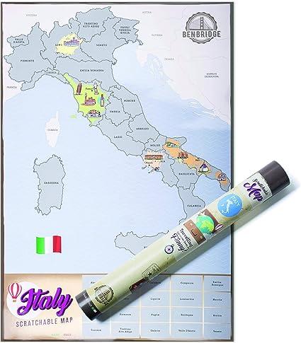 Cartina Italia Amazon.Scratchable Map Benbridge L Unica Mappa Made In Italy Mappa Dell Italia Da Grattare Viaggia E Gratta Via La Regione Che Hai Visitato Personalizzando La Tua Mappa Amazon It Cancelleria E Prodotti