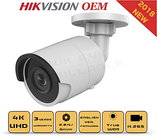 4K PoE Security IP Camera – Compatible with Hikvision DS-2CD2085FWD-I UltraHD 8MP Bullet Onvif IR Night Vision Weatherproof 2.8mm Lens Best for Home and Business Security, 3 Year Warranty