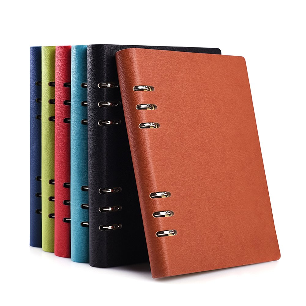Zhi Jin B5 Loose Leaf Pocket Bussiness Leather Refillable Notebook Binder Rings Journal Hard Cover Diary Royal Blue