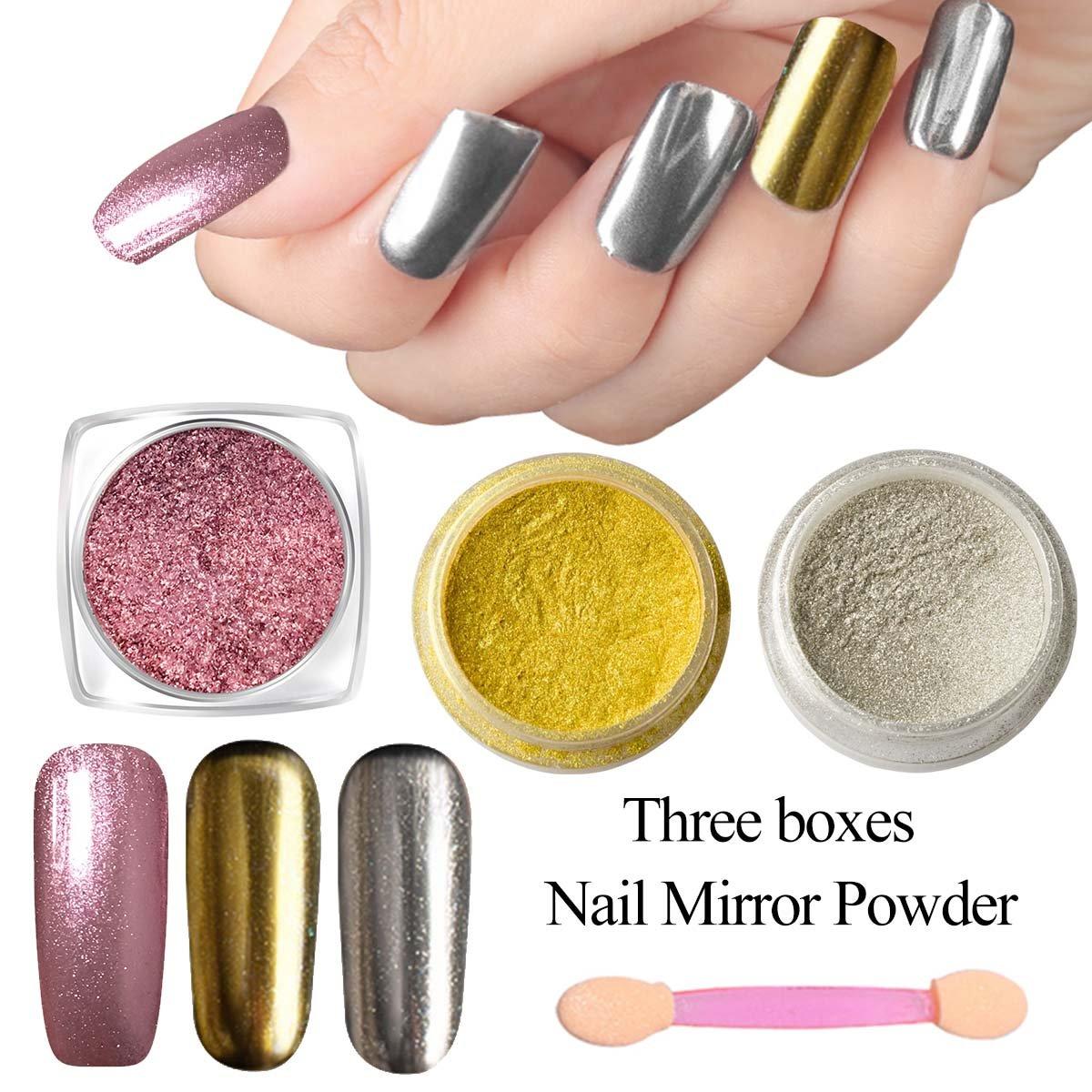 3 Colours Magic Mirror Nail Powder, Saviland Glitter Powder Nail Sequins Chameleon Chrome Nail Powder Pigment Nail Art Decoration Kit (Silver, Gold and Rose Gold)