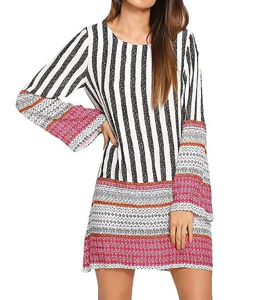 Dress Otoño Flecos Vestidos Estampadas Battercake Cortos Mujer 1wIxES 951811f6d55b