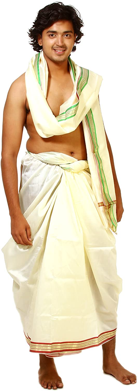 Exotic India Cream Dhoti and Veshti Set with Golden Thread Weave on Border - Sahne AZ93