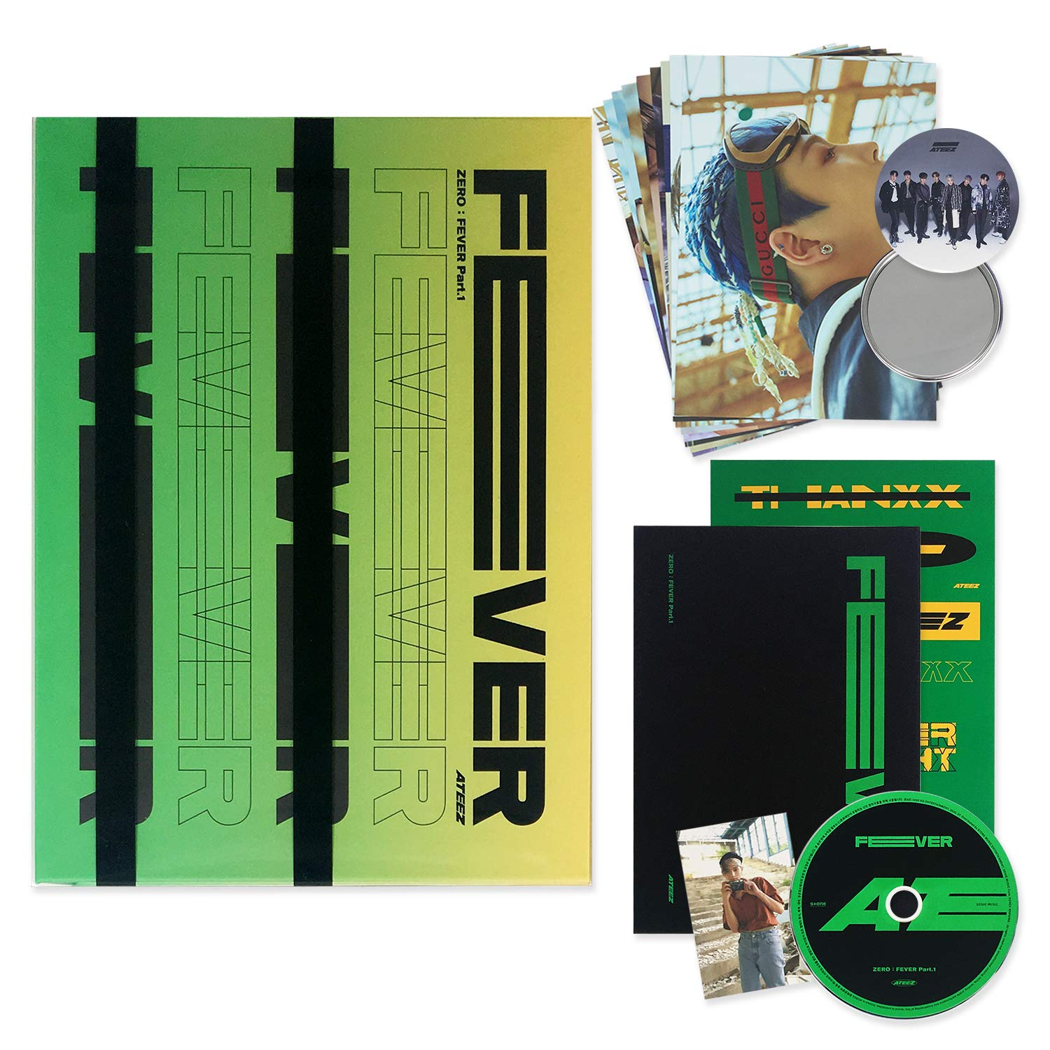 ATEEZ 5Th Mini Album - ZERO : FEVER PART.1 [ THANXX ver. ] CD + Photo Booklet + Sticker + Post Cards + Photocard + OFFICIAL POSTER + FREE GIFT