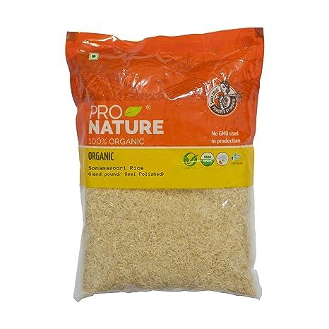 Pro Nature 100% Organic Sonamasoori Rice, Semi Polished, 1kg