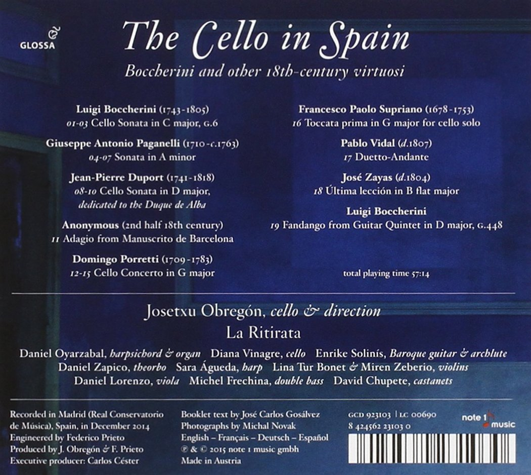 The Cello in Spain : Boccherini y otros virtuosos del XVIII