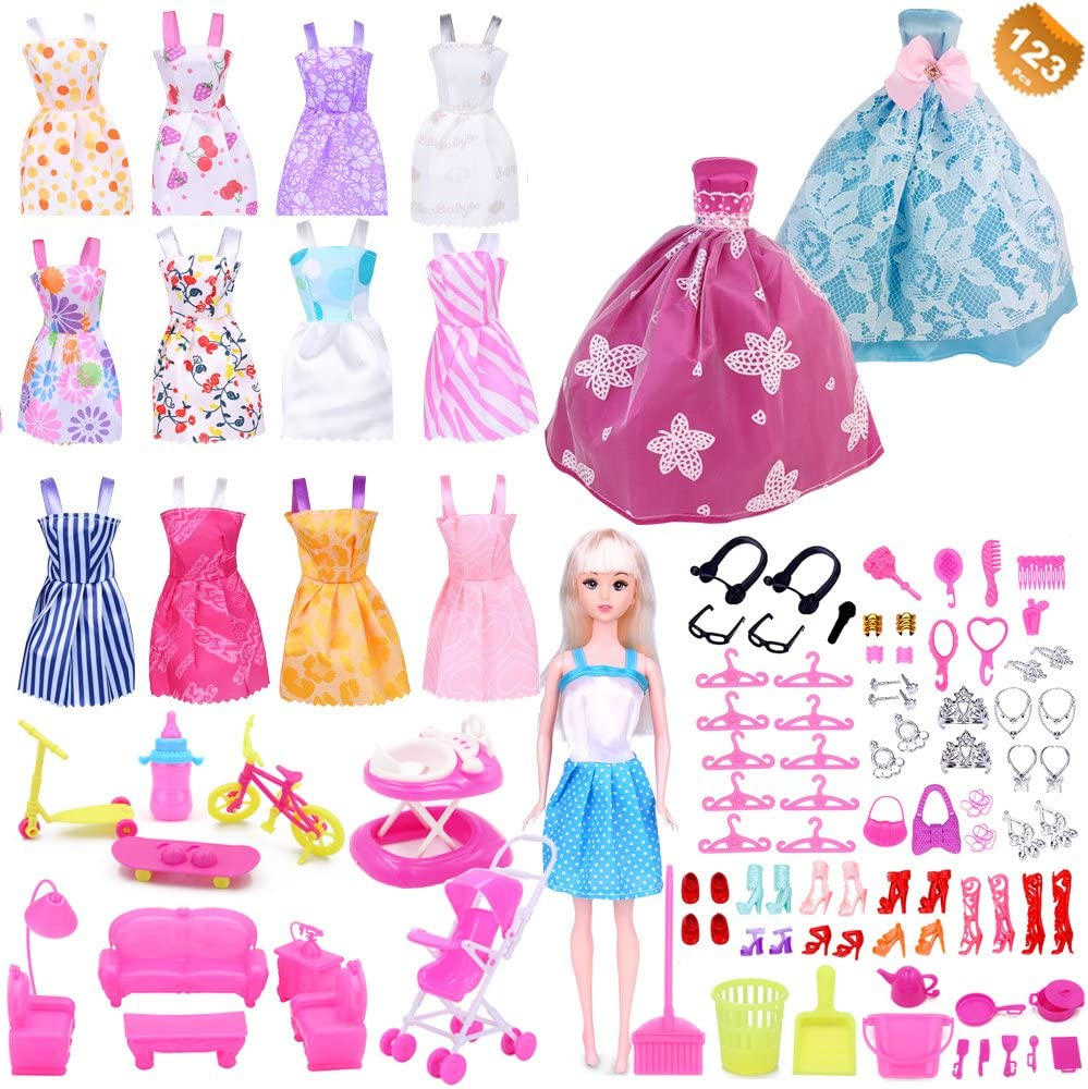 Amazon Com Eutenghao 123pcs Clothes And Accessories For Barbie
