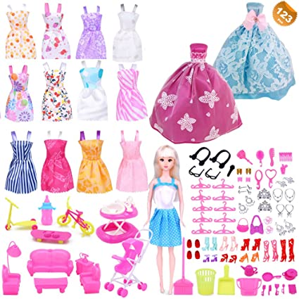 ea30da07ce5 EuTengHao 123Pcs Doll Clothes and Accessories for Barbie Dolls Contain 13  Party Gown Outfits Dresses for