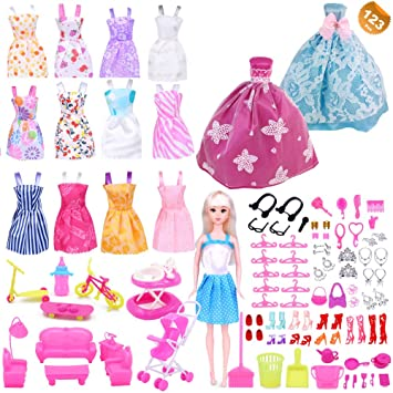 ce1f88fc52e24 EuTengHao 123Pcs Clothes and Accessories for Barbie Dolls Contain 13 Party  Gown Outfits Dresses for Barbie, 2 Handmade Doll Wedding Dresses and 108Pcs  ...