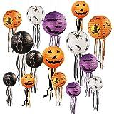 15 PCS Halloween Pumpkin Paper Lantern Jack-O-Lantern with Whiskers, for Halloween Party Weddings Garden Bedroom Bar…