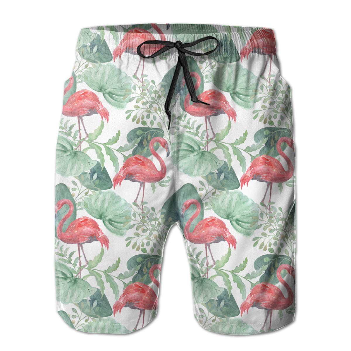 Mens Tropical Leaves Flamingo Pattern Boardshorts Beach Shorts