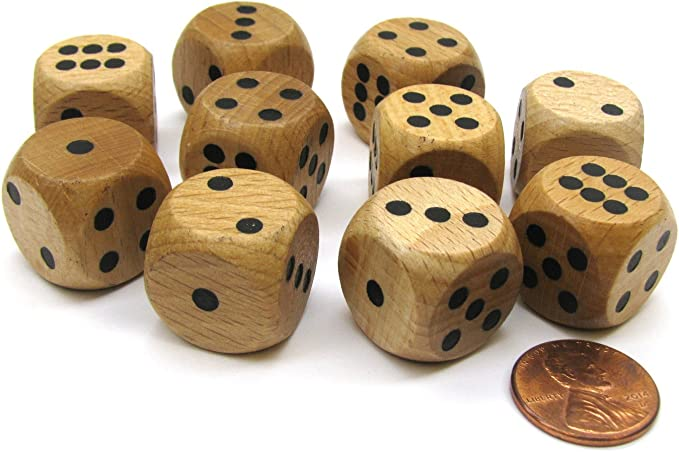 10 Pieces 30mm Wooden D6 Six Sided Dice Board Game Dice for Party Games Wood