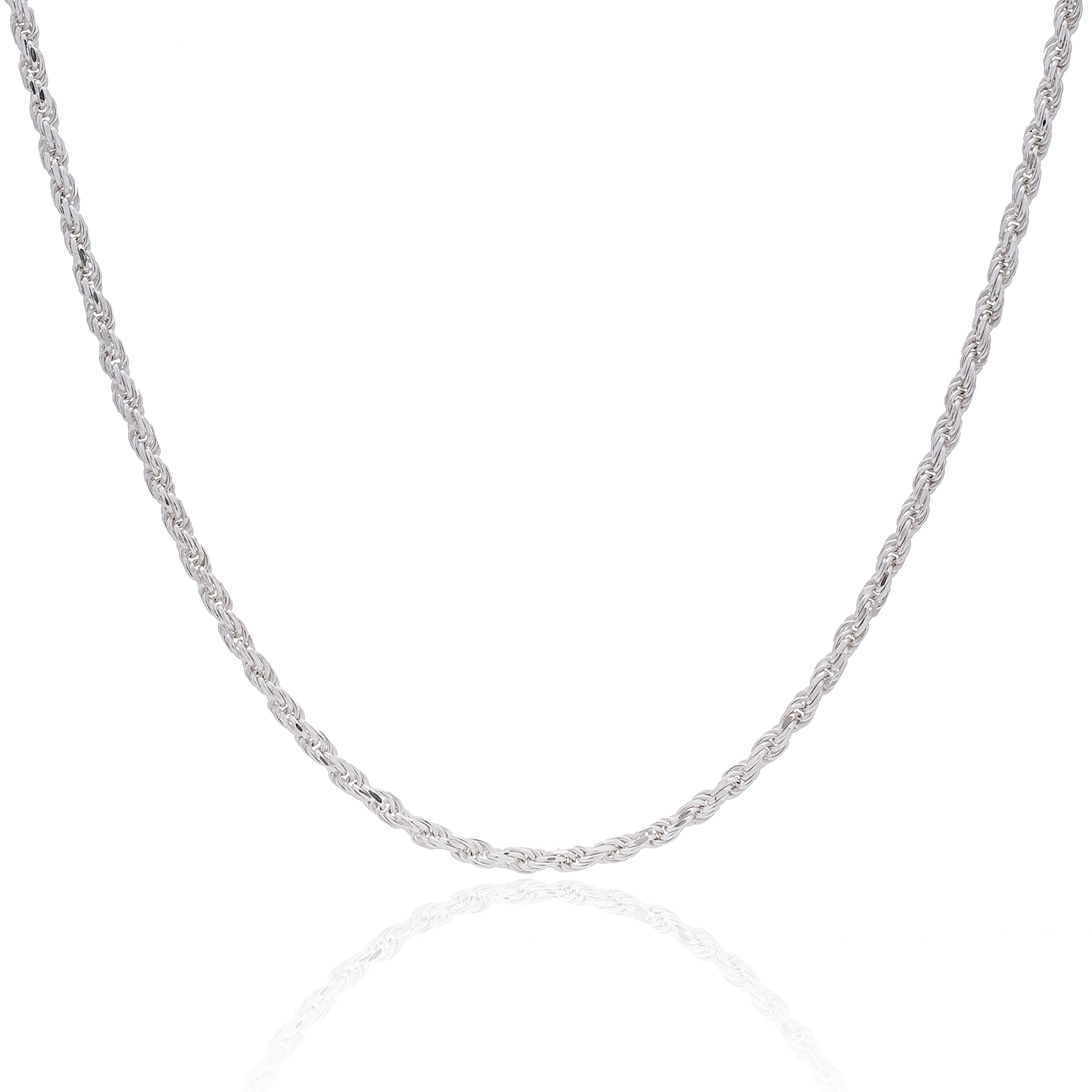 925 Sterling Silver 3MM Rope Chain Lobster Claw Clasp - 24'' by Designer Sterling Silver (Image #2)