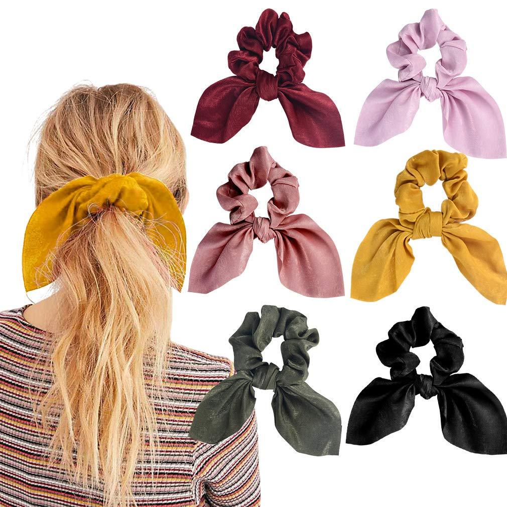 10pcs Elastic Women Girl Bow Knot Ponytail Hair Band Hair Rope Scrunchie Holder