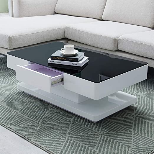 Tukailai White And Black High Gloss Coffee Table With 2 Drawers