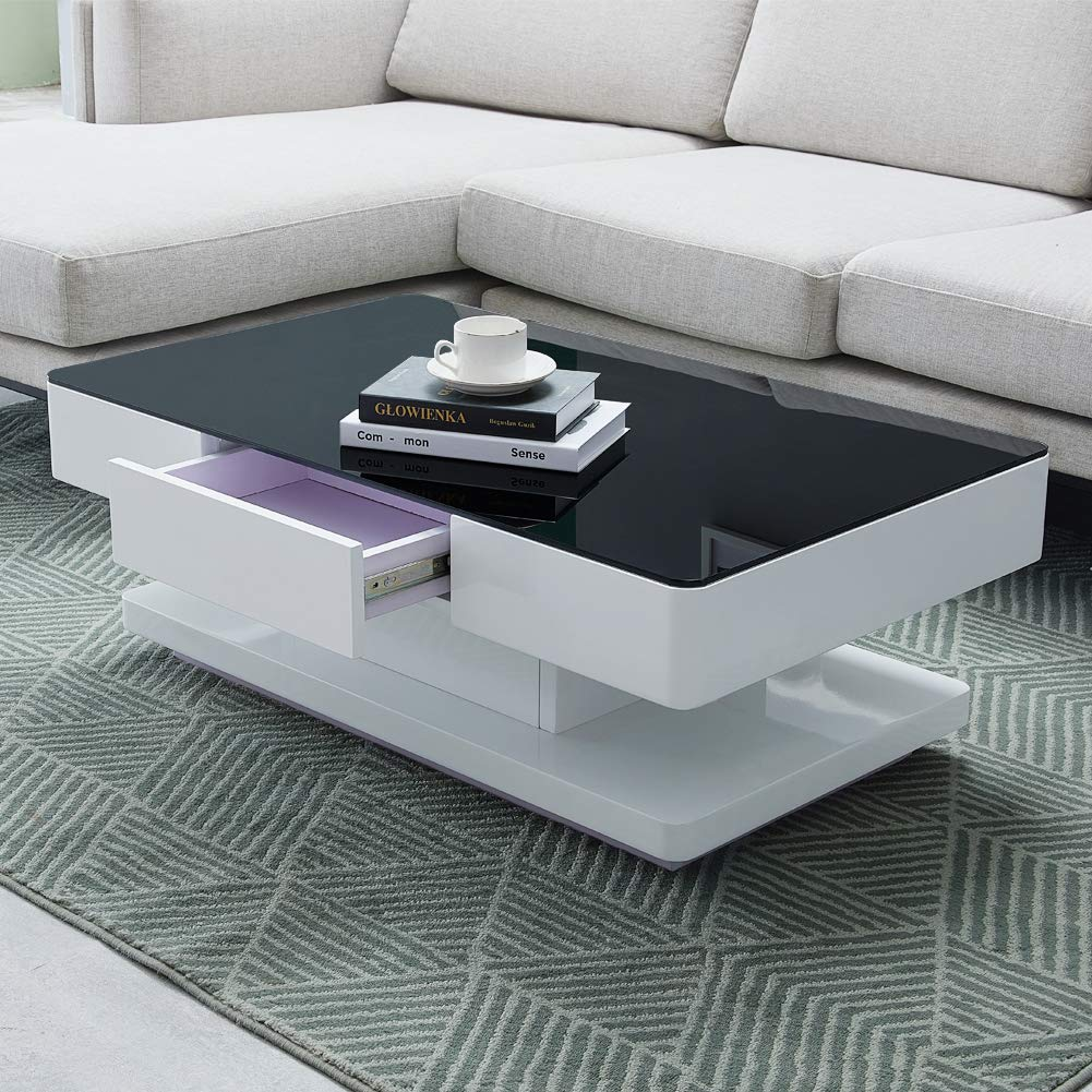 TUKAILAI White and Black High Gloss Coffee Table with 2 Drawers Storage Space 8mm Tempered Glass Top Table for Living Room Furniture Reception Waiting Area Table