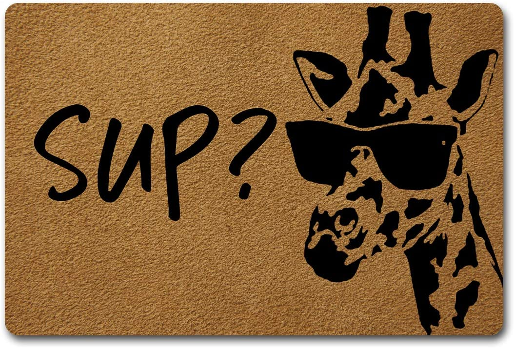 Welcome Funny Door Mat Sup Cool Giraffe What's Up Personalized Doormat with Anti-Slip Rubber Back (23.6 X 15.7 inch) Prank Gift Home Decor Area Rugs for The Entrance Way Indoor Novelty Mats