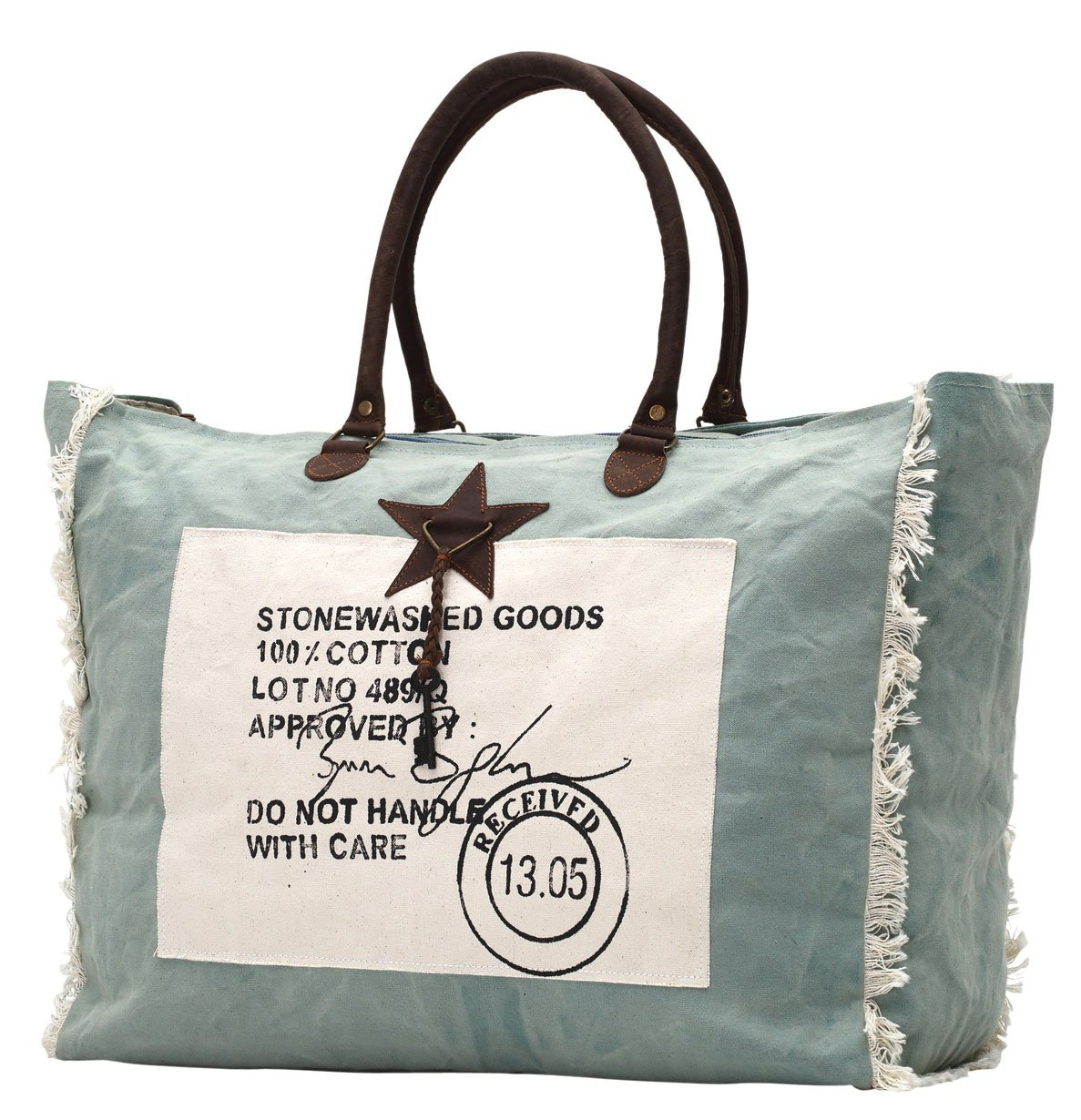 Stone washed canvas stamped weekender, overnight bag