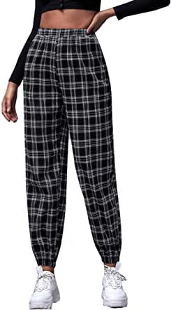 SOLY HUX Women's Mid Waist Plaid Button Pants Cropped Trousers