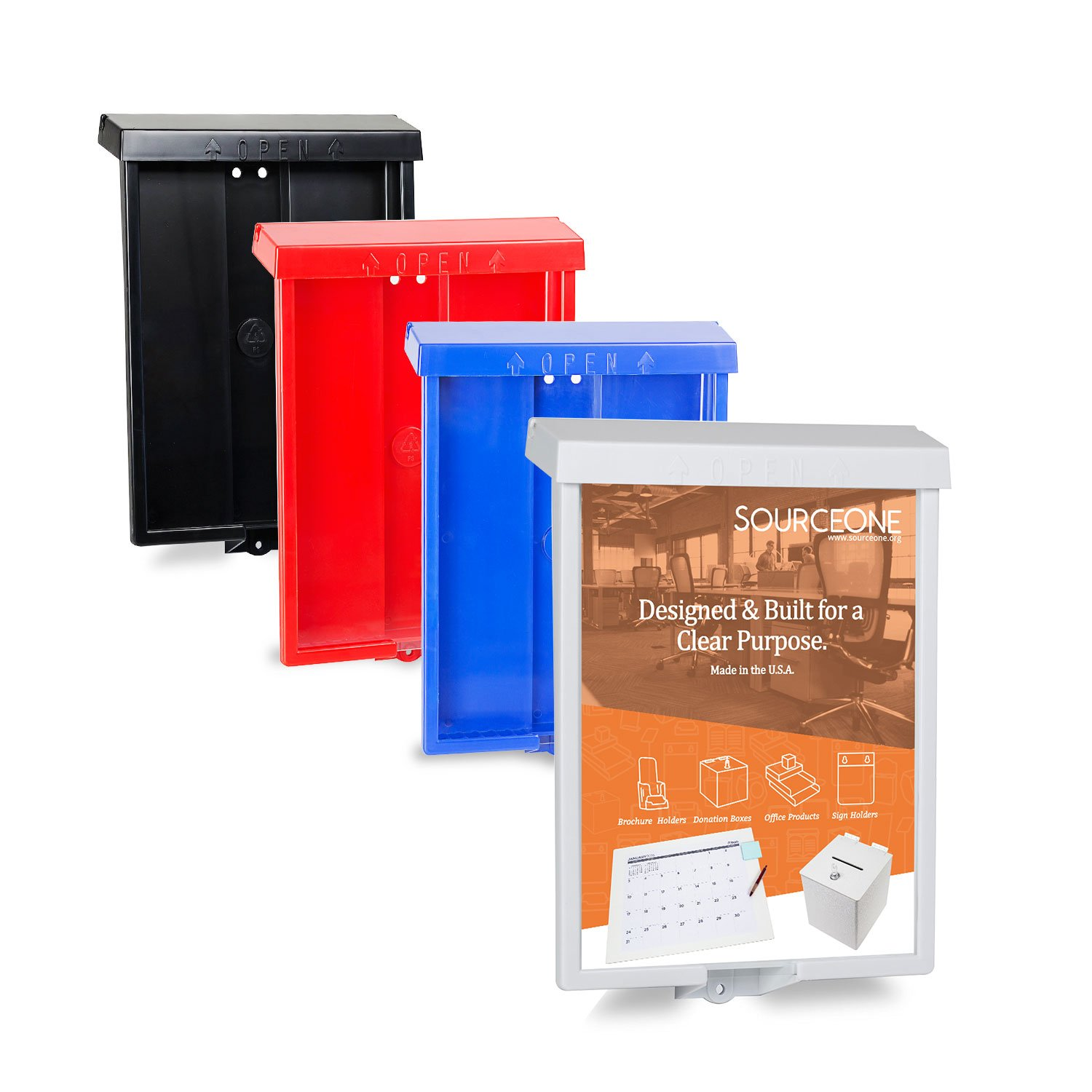 Source One Outdoor Realtor Style Brochure Holder Color Variety White & Black Options Available (6 Pack, Red)