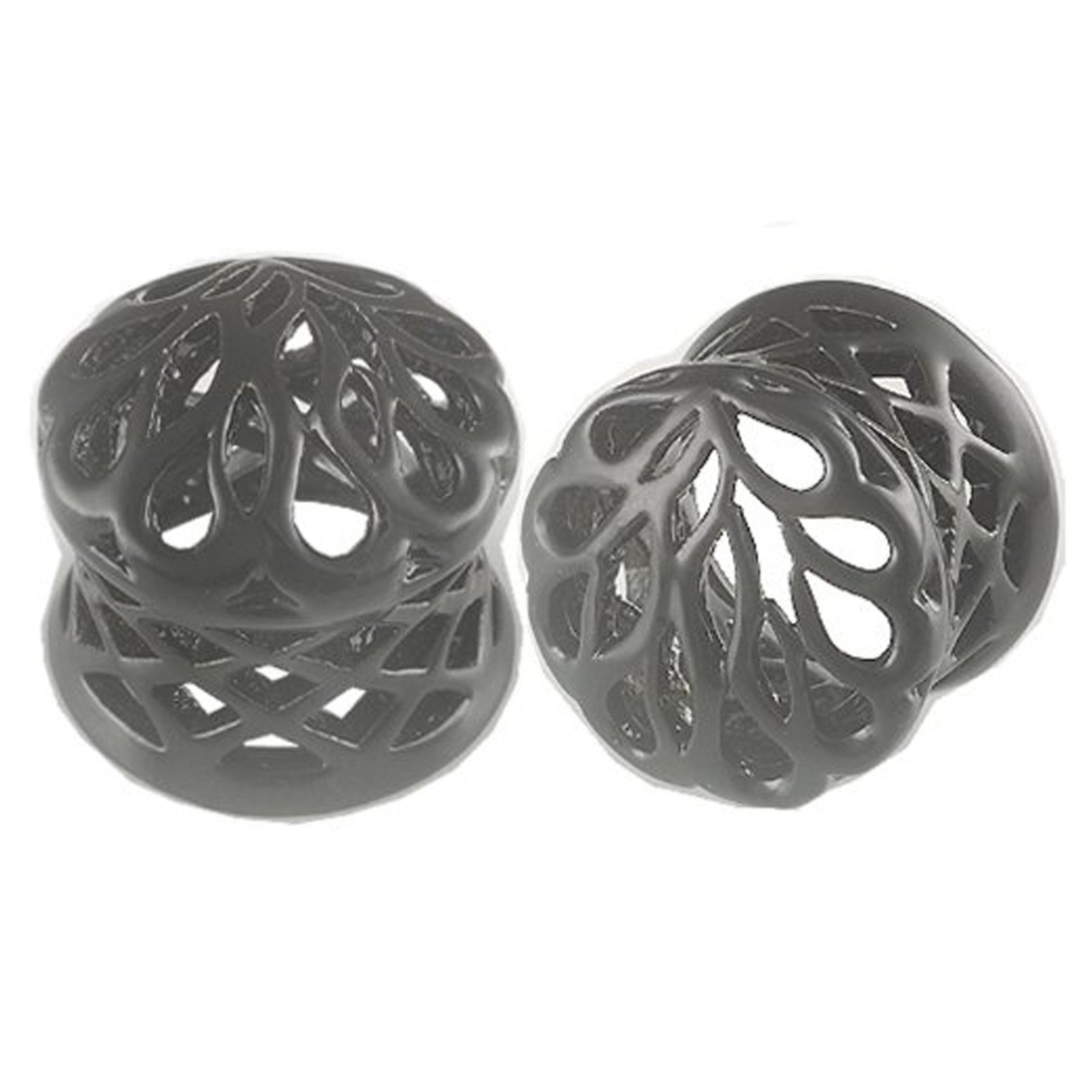1/2'' Inch (12mm) Black Alloy Double Flared Ear Plugs - Sold as a Pair