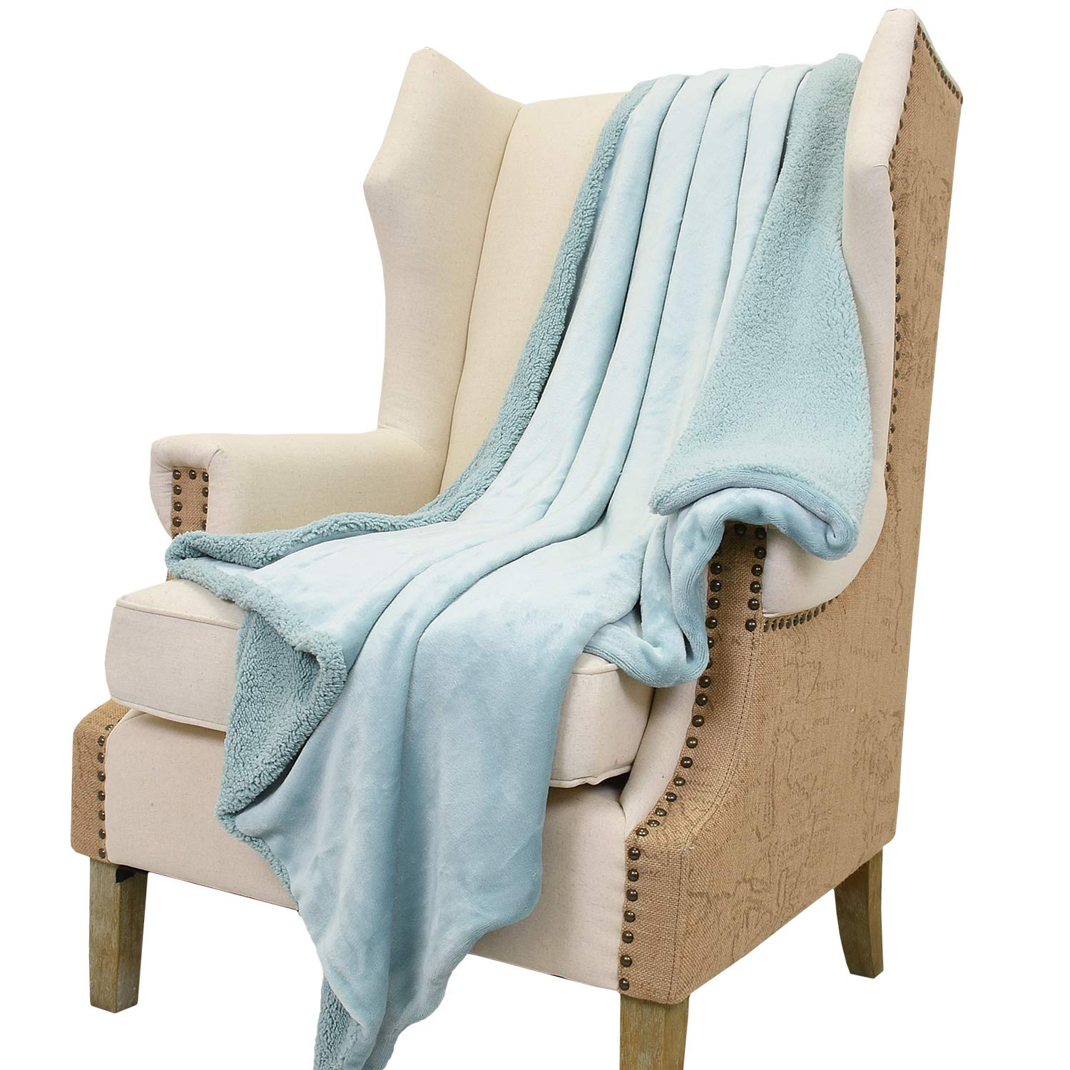 Sherpa Throws Blanket,Luxury Reversible Match Color Super Soft Fuzzy Micro Plush Fleece Snuggle Thick Gift Blanket All Season for TV Bed or Couch 50 x 60 Teal Mint Green By Catalonia