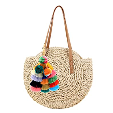 Donalworld Women Round Straw Pompom Shoulder Bag Corn Summer Woven Bags  Beige  Handbags  Amazon.com 0fc036c054d90