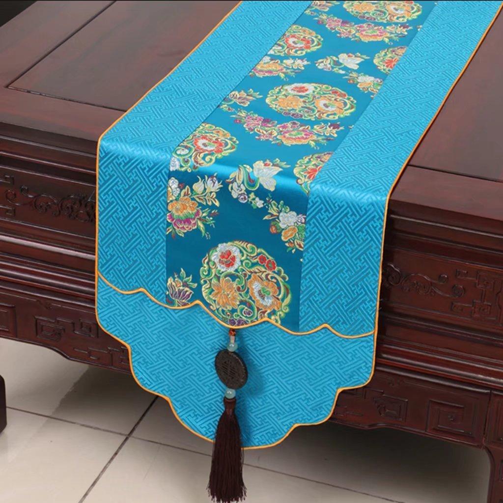 CYALZ blu Flower Pattern Satin Tovaglia da tavola Tovaglia Tavolino da tavola Tovaglia Tovaglia lunga Moderno Semplice Modo Upscale Soggiorno Cucina Ristorante Hotel Tessuti casa (Questo prodotto solo vende corridore da tavolo) 33  200cm
