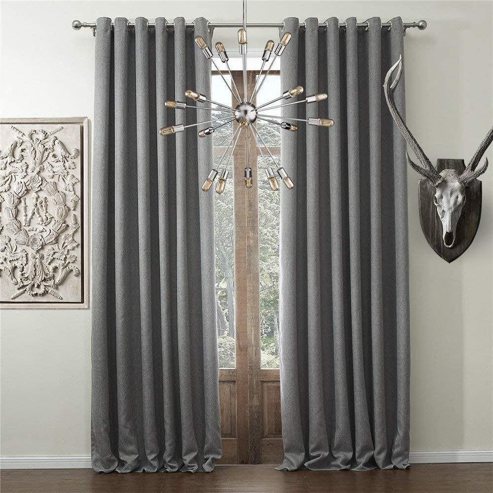 IYUEGO Solid Faux Linen Classic Room Darkening Grommet Top Curtain Draperies with Multi Size Custom 72