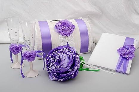 Madeheart Caja regalo hecha a mano boda Decoración Accesorios para boda en lila Wei?
