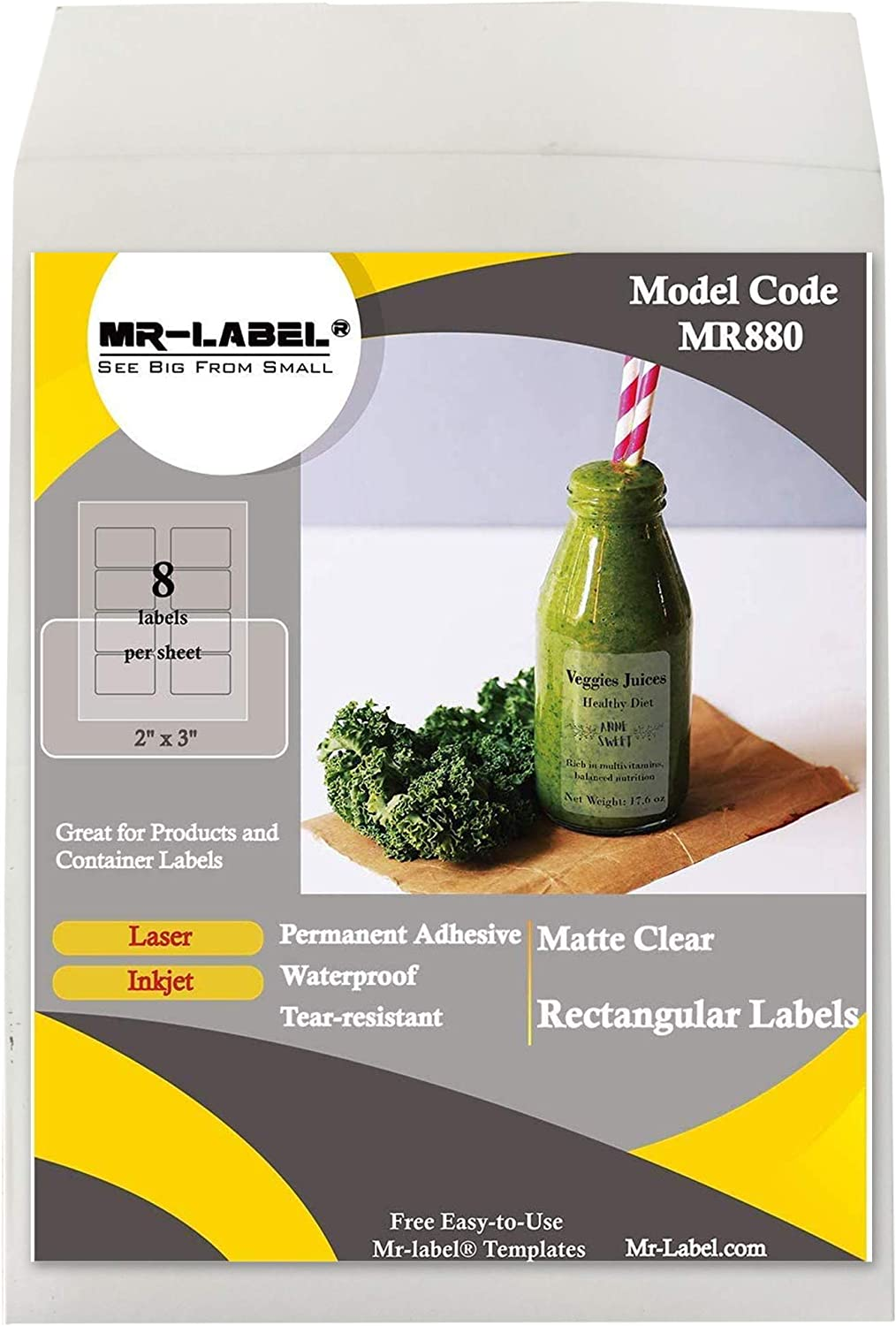 """Mr-Label 2"""" x 3"""" Matte Frosted Clear Rectangle Labels - Waterproof and Tear-Resistant - for Inkjet & Laser Printer - Permanent Adhesive - for Glass Bottle   Gift Bag (25 Sheets Total 200 Labels)"""
