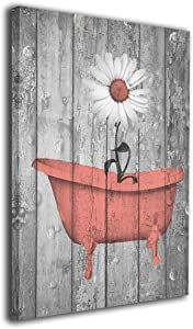Colla Canvas Wall Art Coral Gray Daisy Flowers Rustic Country Farmhouse Contemporary Home Wall Decorations for Bathroom Bedroom Living Room Paintings Canvas Prints Framed 12x16 Inches