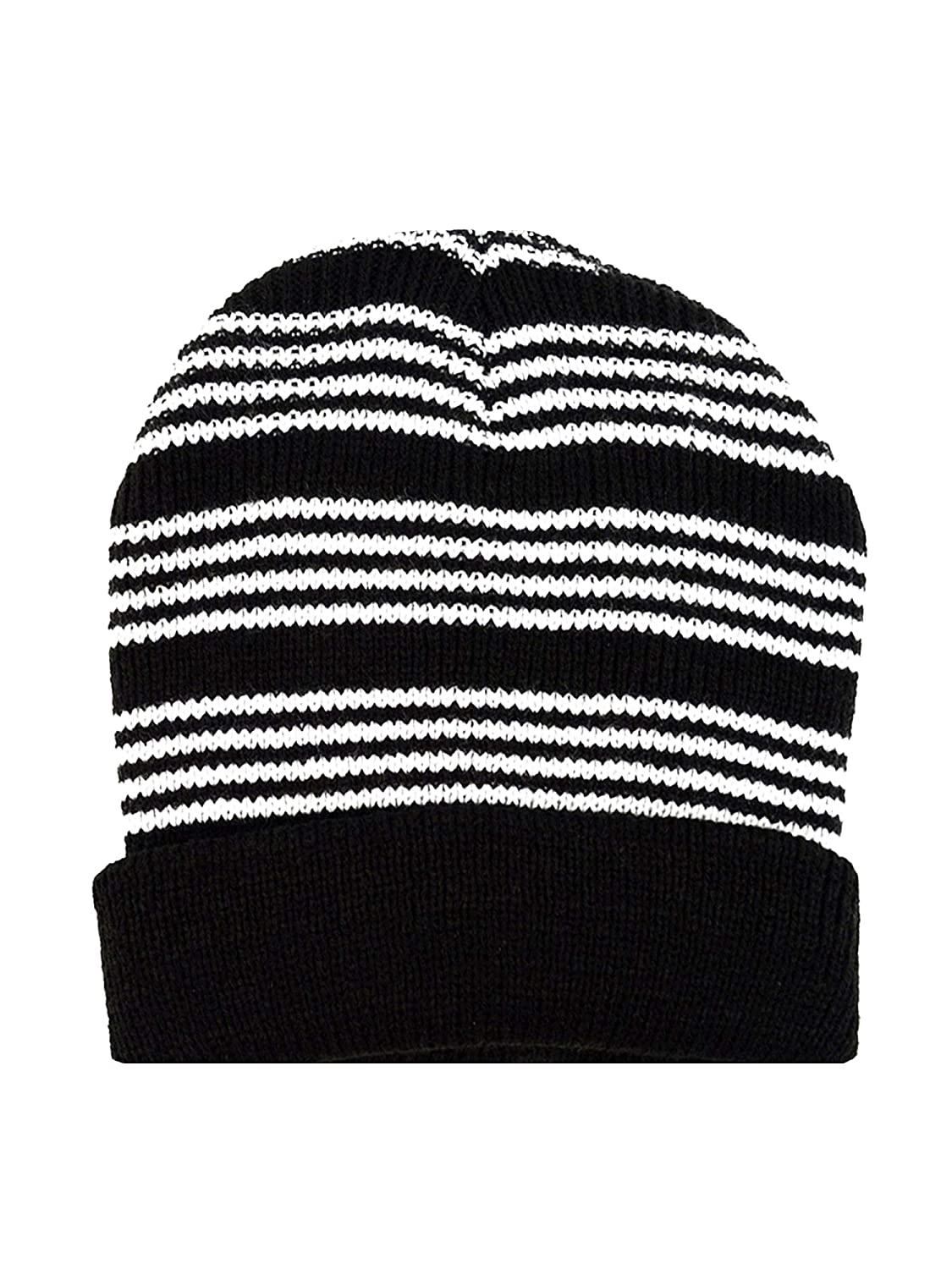 Mens Black /& White Stripe Winter Knit Hat /& Scarf Set