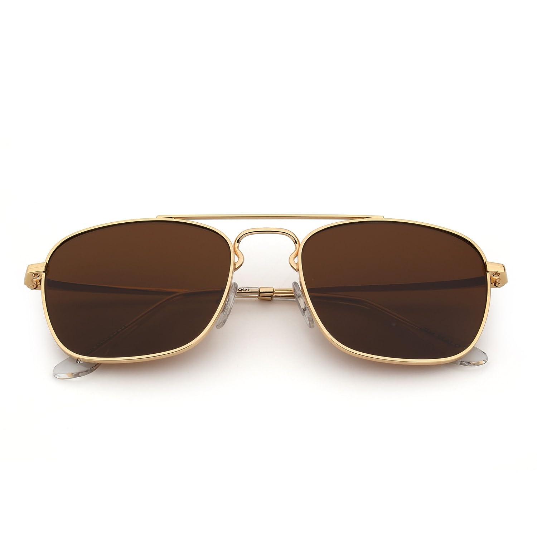 Retro Platz Flieger Sonnenbrille Premium Glas Linse Flach Metall ...