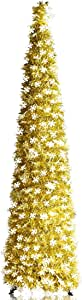YuQi Collapsible Christmas Trees Tinsel Artificial Xmas Tree with Stand for Christmas & Halloween,Party,Next New Year,Wedding, Seasonal Home Décor & Party, C9.pop Up Xmas Trees-6ft-shiny Joy You, C. 6FT - Pop Up Tinsel Tree for Xmas/Party/Wedding