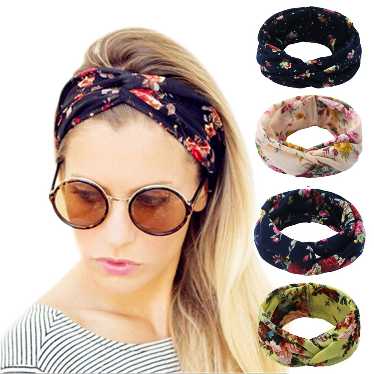 1b0537e0af43 Amazon.com  Ordenado 4 Pack Women s Headbands Elastic Turban Head Wrap  Floal Style Hair Band  Clothing