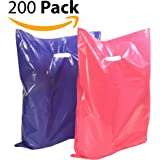 "200 12"" x 15"" Large Purple and Pink Merchandise Plastic Glossy Bags, with Handles, Shopping Bag, Party Favors, Simple John Supply"