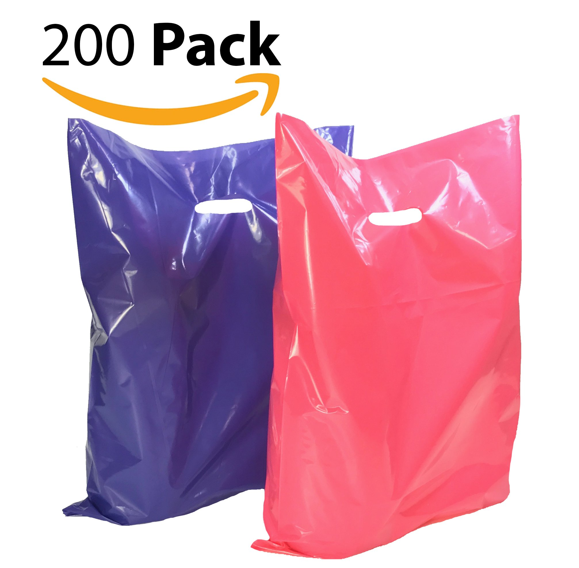200 12'' x 15'' Large Purple and Pink Merchandise Plastic Glossy Bags, with Handles, Shopping Bag, Party Favors, Simple John Supply
