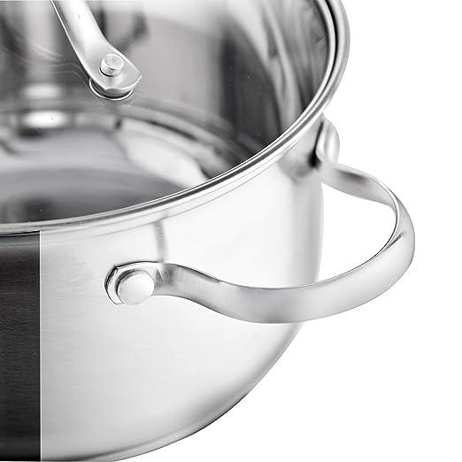 Velaze Juego de Ollas de Acero Inoxidable, Batería de Utensilios de Cocina Conjunto de Cacerolas Antiadherentes(8 Piezas)