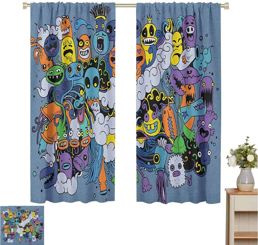Blackout Curtains for Living Room- Home Curtain Group of Funky Monsters Society Different Expressions Abstract Groovy Doodle Style Multicolor for Home Decoration Set of 2 Panels W55 x L62
