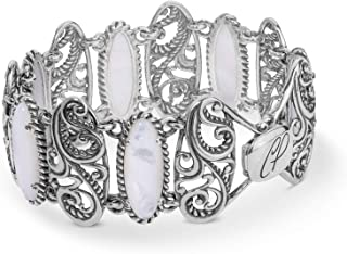 product image for Carolyn Pollack Sterling Silver Mother of Pearl Signature Link Bracelet Size Medium