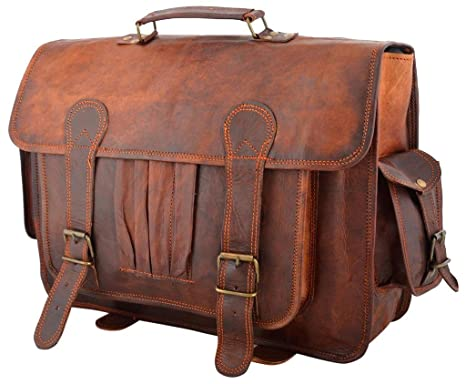 Rustic Leather Village Men s Vintage Leather Messenger Backpack 2 In 1 Bag  11155 Inches Brown 80ec1745a36
