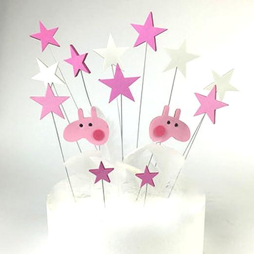 4 piezas Pastel de Peppa Pig y estrellas decoraciones Set Cupcake Toppers Para de tarta de cumpleaños fiesta