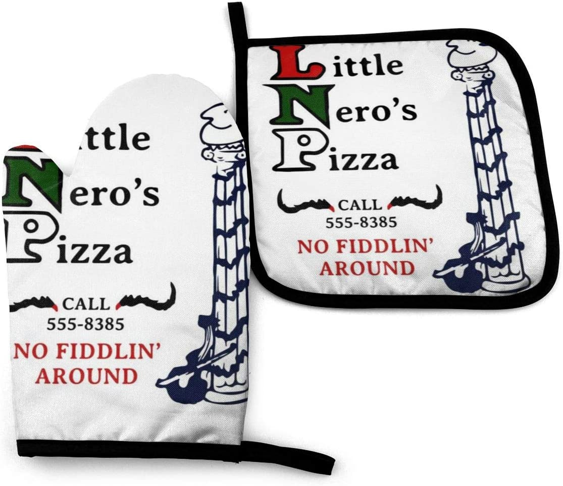SDFDFGD Little Neros Pizza Home Alone -Oven Mitts and Pot Holders Heat Resistant Kitchen Bake Gloves Cooking Gloves