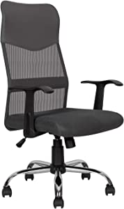 Ergonomic Office Chair Desk Chair Mesh Mid Back Swivel Lumbar Support Rolling Swivel Computer Chair Task Chair PU Leather Executive Chair, Grey