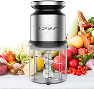 Homeasy Food Processor, Meat Grinder Mini Chopper 600ml Stainless Steel Food Chopper for Salad, Sauces, Vegetables, Meat, Fruits and Nuts, 300W and 4 Durable Sharp Blades